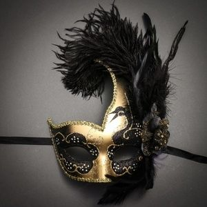 Venetian Half Moon Masquerade Feather Mask - Gold